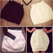 skirt,shirt,zhivago,puff skirt,mini skirt,lined skirt,stretch skirt,high-fashion look,white skirt,classy,amazing,black skirt,high waisted,high waisted skirt,bubble skirt,diamond shape