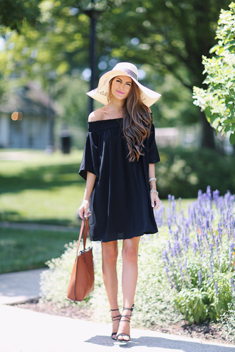 southern curls and pearls blogger dress shoes bag hat off the shoulder straw hat black dress mini dress brown bag lace up heels sandals sandal heels black off shoulder dress off the shoulder dress summer dress floppy hat sun hat summer outfits high heel sandals black sandals customized beach hat bardot dress big hat