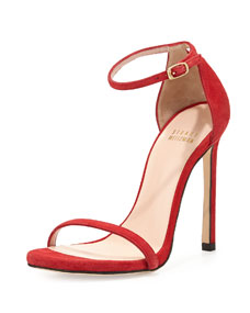 Strap suede sandal, red