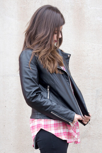 jacket flannel shirt style fashion biker jacket streetwear streetstyle outfit outerwear zip musthave vegan leather black black jacket lookbook blogger look of the day clothes