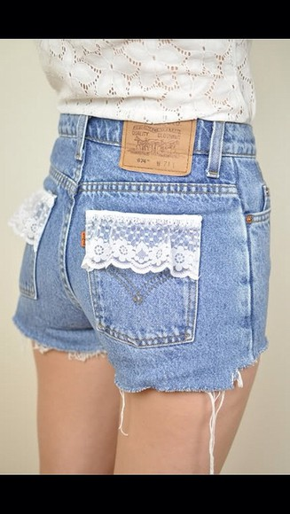 shorts cute pocket l.a. lace high waisted jean shorts tumblr stylish tag