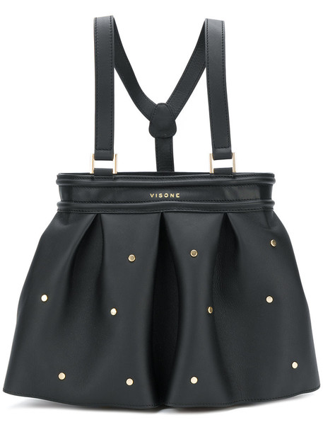 Visone - Amber studded tote - women - Leather - One Size, Black, Leather
