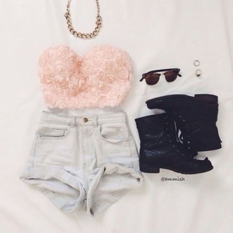 shirt blouse bustier pink bustier jewlery highwaisted shorts roses petals flowers strapless pink prettyinpink