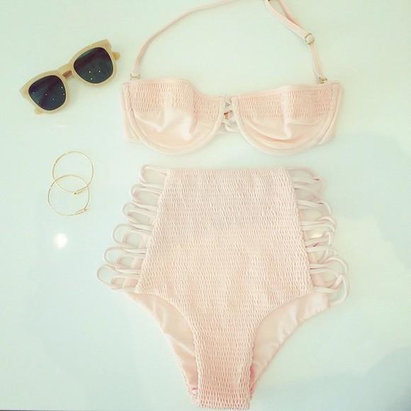swimwear retro baby pink high waisted bikini