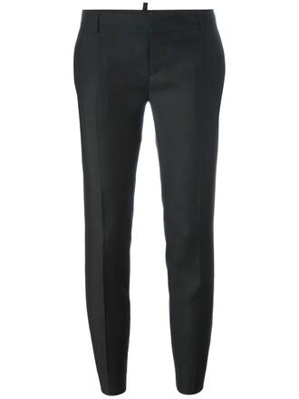 women fit black silk wool pants