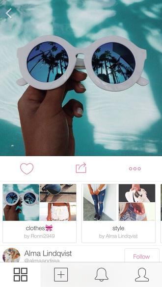 sunglasses round white sunglasses