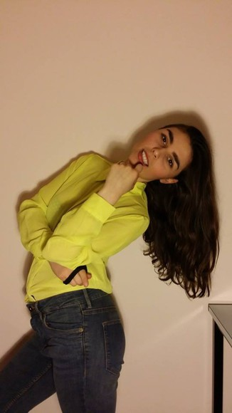 yellow shirt shirt summer shirt hight waisted jans neon yellow