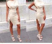 dress,cream dress,party dress,sexy dress,slit dress,bodycon dress,white dress,creme
