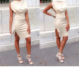 dress cream dress party dress sexy dress slit dress fitted dress white dress creme