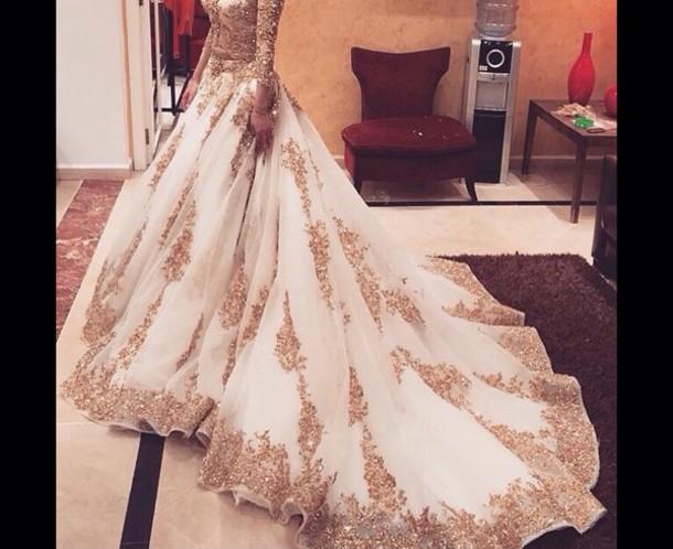 dress white dress gold sequins prom dress