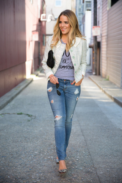 gal meets glam jacket t-shirt jeans shoes bag