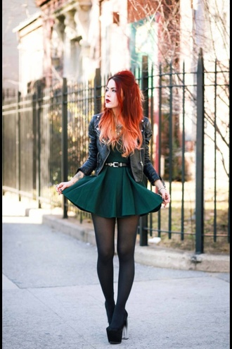dress black dress luanna perez grunge black leather green dress mini dress tumblr little black dress leather jacket tumblr outfit tumblr dress jacket