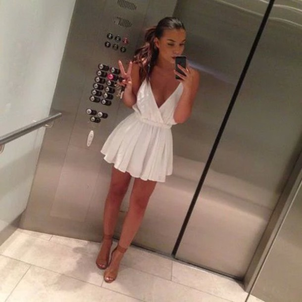 short v neck white dress