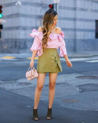 top off the shoulder off the shoulder top pink top skirt mini skirt green skirt peep toe heels bag pink bag shoes