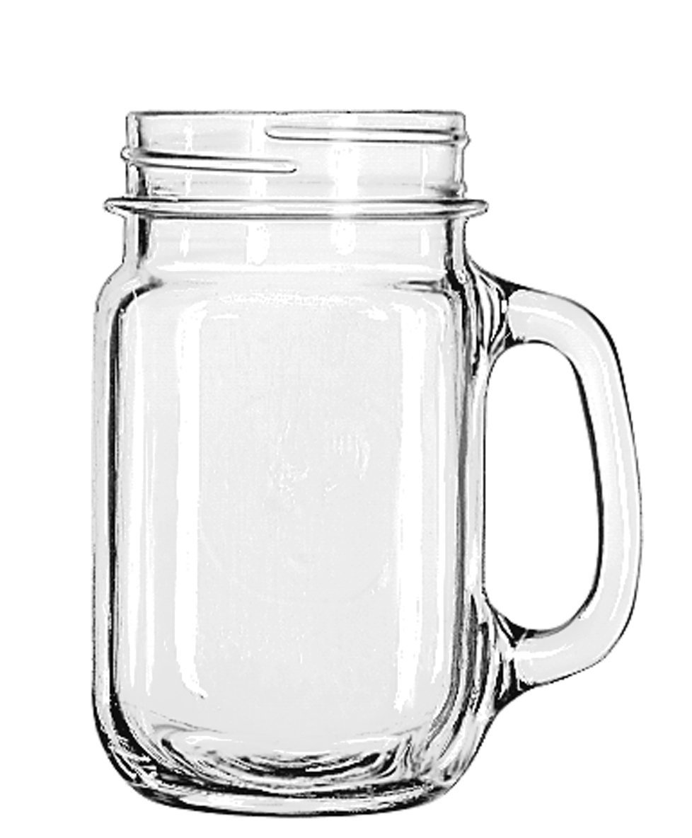 Amazon.com: Libbey Drinking Jar with Handle, 16 -Ounce, Set of 12: Mugs: Kitchen & Dining