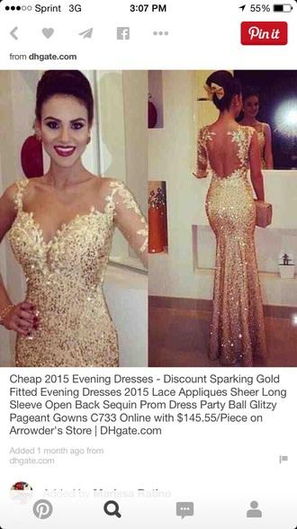 dress prom gold sequins lace dress