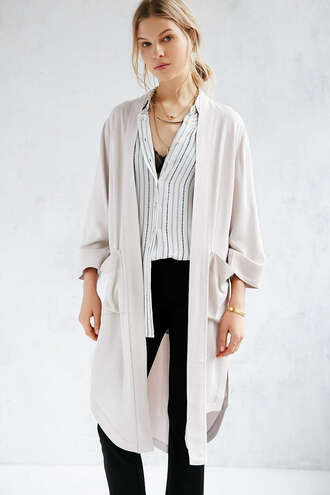 jacket duster coat beige cream urban outfitters