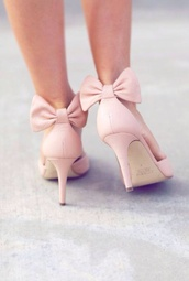 shoes,pink high heels,pink bow,heels,pink heels,bows,bow high heels,bow,blush pink,wedding shoes