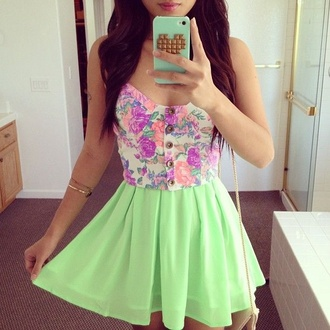 top lime pastel skirt floral bustier blouse