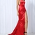 Red Maxi Slit Elegant Silk Satin With Back Tail on Storenvy