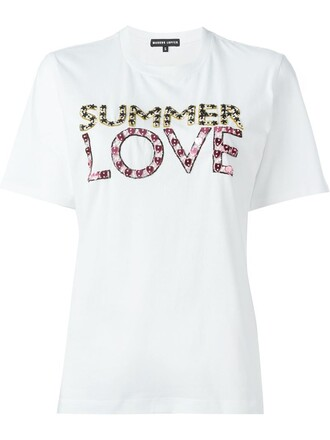 t-shirt shirt summer love embellished top