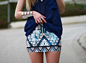 skirt aztek print sweet blue skirt pink skirt