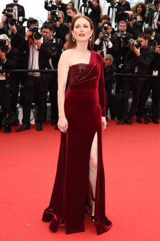 dress gown burgundy one shoulder slit dress julianne moore cannes prom dress