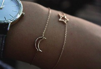 jewels stars moon watch bracelets jewe gold chain crescent crescentmoon crescent moon gold star gold bracelet gold moon set bracelets jewelry accessories dainty bracelets dainty simple dainty girl moo :( jewelry bracelets moon bracelet star bracelet moon and star bracelet fashion brancelet grunge jewelery gold jewelry