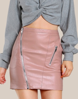 skirt girly pink leather leather skirt zip zipped skirt cute