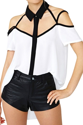 blouse top white blouse black and white black and white blouse black and white top strappy short sleeves collar blouse white blouse with black collar and straps zaful summer collection summer outfits casual casual outfits casual outfits summer black collar