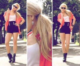 shorts black shorts lol knot summer outfits orange coral high heels outfit streetwear sunglasses buttons shirt summer outfits high waisted peach white singlet black boots hot slim sexy sexy highwaist black high waisted shorts