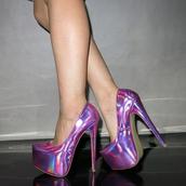 shoes,purple,almond toe,iridescent,platform heels,high heels