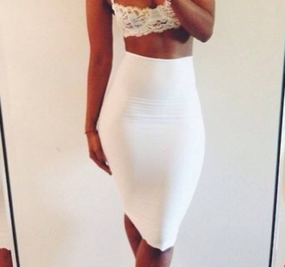 white sexy cute simple underwear bra lace thing strap fashion tank top crop tops skirt