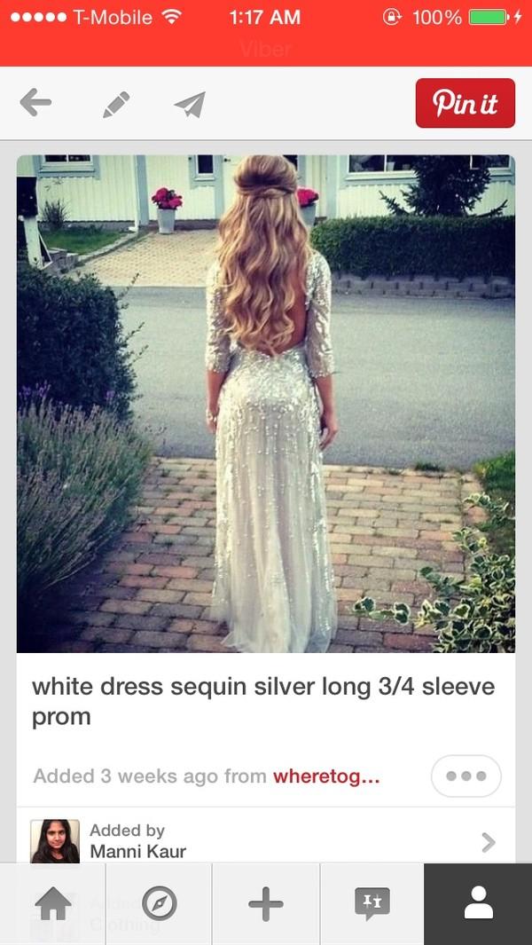 dress 3/4 sequin white dress prom dress