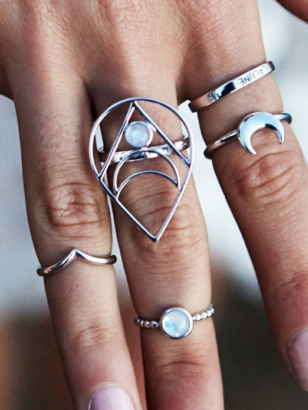 jewels jewelry ring ring moon and sun silver ring indie boho jewelry knuckle ring lunar moon half moon