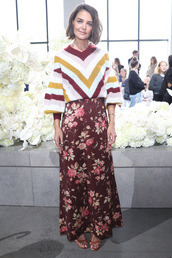 sweater,katie holmes,fashion week,maxi skirt,fall outfits,floral,burgundy