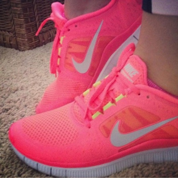 shoes nike shoes nike free run fluo pink free runners