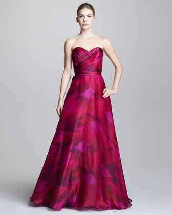 Theia Printed Sweetheart Ball Gown - Neiman Marcus