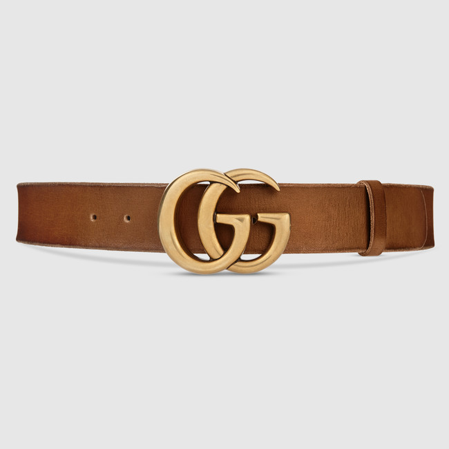 65210e0a498 Gucci Leather belt with Double G buckle