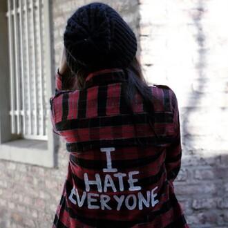 shirt grunge girl plaid tumblr hipster beanie t-shirt