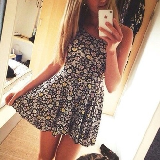 dress floral floral dress pretty cute flowers girly multicoloured floral pattern summer dress summer outfits party party dress prom dress black dress black and white iphone phone smartphone mini dress classy nude beach beach dress sexy dress black style