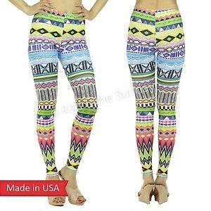 Women aztec tribal ethnic multi vibrant color print leggings tights pants usa