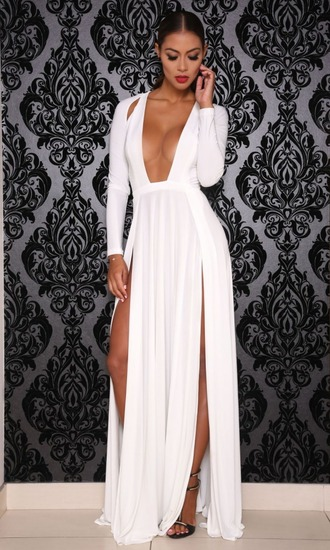 dress white white dress slit slit dress open chest shoulder slit long sleeves long sleeve white dress double slit dress evending gown gown white gown loose silk long sleeve white dtess