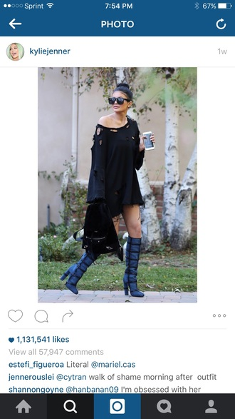 blouse black ripped kylie jenner