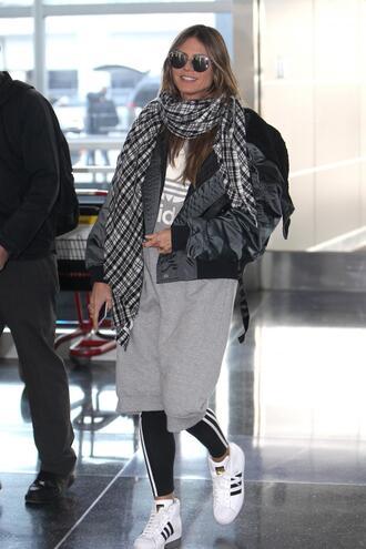 dress sweater dress grey dress grey adidas heidi klum model off-duty fall outfits bomber jacket
