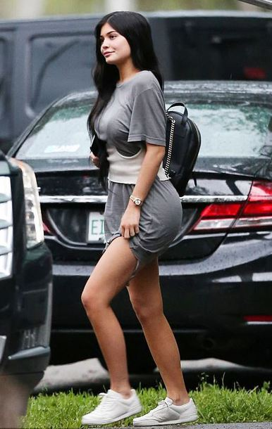 belt top t-shirt grey kylie jenner kardashians sneakers dress mini dress