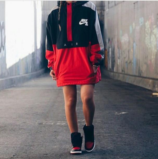 jacket coat red nike supreme dope windbreaker nike jacket dress