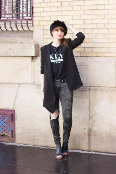mahayanna blogger jacket top grey jeans