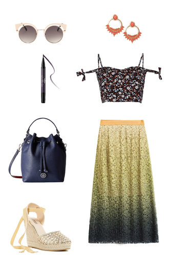 top summer summer holidays honeymoon pleated skirt midi skirt yellow skirt lace skirt gold shoes navy bag leather bag bucket bag date outfit tie dye floral crop top wedges eyeliner hoop earrings statement earrings skirt shoes make-up jewels bag sunglasses