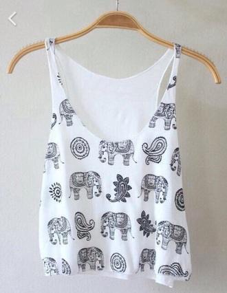 t-shirt top shirt white elephant mandala pattern hippie boho bohemian gypsy fashion black summer spring
